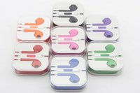 Wholesale in earphone For iPhone s c s Plus Stereo Earphone mm Headphones Headset with Mic With Crystal box