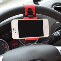 Wholesale Car Streeling Steering Wheel Cradle Holder SMART Clip Car Bike Mount Support for Mobile Cell Phone