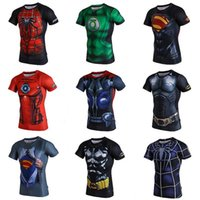Wholesale 15 STYLES Fitness Compression Shirt superhero Sport Wear Men Superman Captain America Batman Spiderman Iron Man Sport T shirt DHL FREE