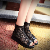 big fish net - 2016 Women Summer new fish head flat lace mesh net Cut Outs cool ankle boots sandals big yards boots us8 us9