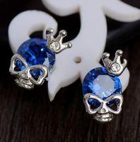 Stud impériale France-Crâne spécial avec couronne impériale Forme 1pair 18k en or blanc plaqué plomb CZ Cubic Zirconia Stud Earrings For Women Wholesale