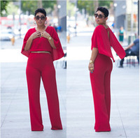 Cheap 2016 Sexy big one piece shawl tight elastic pants suit red african print pants wholesale dashiki for women bazin riche Jumpsuits Rompers