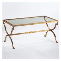 art glass hardware - American rural Nordic art hardware toughened glass tea table Rectangular coffee table