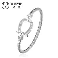diamante shoes - 2016 new arrive sterling silver plated bangle with diamante Horse shoe buckle bracelet