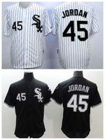 Baseball Men Short White Sox #45 Michael Jordan Black Baseball Jersey High Quality Stitched Baseball Shirts Cheap Sports Jerseys Athletic Baseball Wears