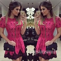 Wholesale Ms fall clothes dress sexy red lace short sleeved dress waist foreign trade explosion models in Europe and America