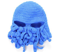 Wholesale Wool Handmade Octopus Squid Knit Hat Cap Wind Winter Warmer Ski Mask Outdoor Sports Riding Cap