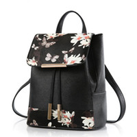 Wholesale New Flower Printed Style Multifunction Shoulder or Crossbody Bag Backpack PU Leather Women Casual Backpacks Travel Bags Tote GLB086