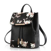 backpack or shoulder bag - New Flower Printed Style Multifunction Shoulder or Crossbody Bag Backpack PU Leather Women Casual Backpacks Travel Bags Tote GLB086