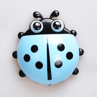 Wholesale 4 Colors Cartoon Ladybug Sucker Suction Hook Bathroom Accessories Sucker Toothbrush Holder Wall Suction Bathroom Sets