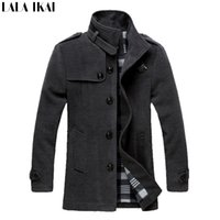 Wholesale Men Wool Coat Male Autumn Winter Warm Quality Solid Parka Slim Fit Long Jacket Man Winter Jacket AK003