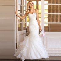 Wholesale In Stock New Fation Real Photo Bridal Gown Custom Made Organza Simple Elegant Mermaid Wedding Dress