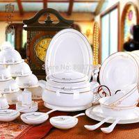 Wholesale High grade genuine bone china tableware suits jingdezhen ceramic tableware disc