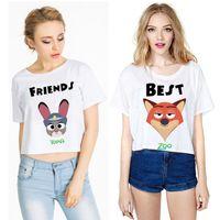 adult color t shirt - Prettybaby Girls cartoon zootopia printing short sleeve T shirts cotton tee shirts Rabbit Judy fox Nick adult women gift Pt0438 mi