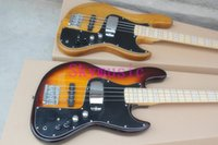Wholesale Free shopping factory custom jazz natural wood and Sunburst color strings electric bass guitar with V Battery active pickups