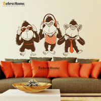 Wholesale Large Vinyl Music Wall Stickers - DIY Three Mokey Music Dance Wall Decal Stickers For Living Room Vinyl Mural Wallpaper Baby Kid Nursery Home Decoration
