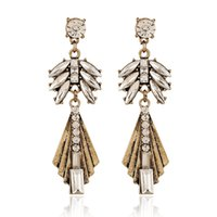 Wholesale Hot Sale Fashion Woman Jewelry Pairs Popular Charm Large Austrian Crystal Drop Earrings Bohemia vintage Accessories
