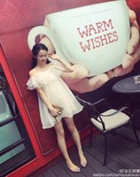 banks shoulders red - Paragraph summer net in the left bank of the red Xiao with off the shoulder small condole belt falbala organza fresh white dress