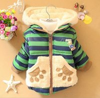 bearing thickness - New Winter years old boys coat striped with bear warmly thickness A308