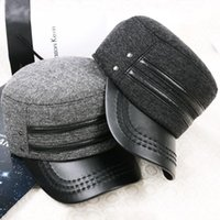 Wholesale Men Women Military Army Cadet Cap Cotton Flat Top Winter Warm Solid Wool Hat QJ