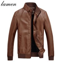 Wholesale Fall Lamen new arrivals Men motorcycle clothing leather jacket coat Plus velvet warm autumn winter jacket men pu leather coat