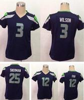 Wholesale Woman Seattle Elite Jersey Seahawks FAN SHERMAN WILSON top quality soccer jerseys accept mix order free drop shipping
