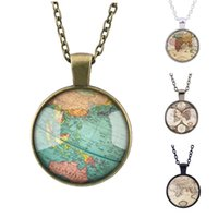 ancient map - Hot sell unisex necklace Retro ancient map necklace glass time gemstone necklace