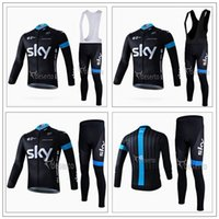 Wholesale 2016 Team Sky Cycling Jerseys Set Long Sleeve With Padded Bib None Bib Trousers Thermal Fleece None Fleece Men Bicycle Clothing Ropa Ciclism