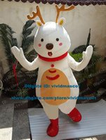 adult reindeer costume - Brave White Reindeer Caribou Moose Alces Red Deer Wapiti Elk Mascot Costume Cartoon Character Mascotte Adult Red Scarf ZZ381 FS
