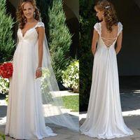 Wholesale Cheap Plus Size Wedding Gowns Chiffon Empire Chiffon Lace Wedding Dresses Cap Sleeves Floor Length Beach Bridal Gowns