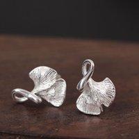 art design earrings - Sterling Silver Genuine S925 Original Design Anti Allergy Fashion Apricot Leaf Earrings Female Ornaments Literature And Art