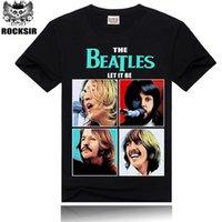 band tshirt printing - New Fashion Men black t shirt The Beatles Rock band Tshirt D printing t shirts Hip Hop Rock tees
