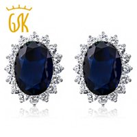 Wholesale GemStoneKing Princess Diana Earrings Ct Oval Blue Simulated Sapphire and Zirconia Sterling Silver Earrings