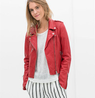 Cheap Women Short Leather Red Jacket | Free Shipping Women Short