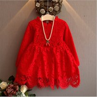 Wholesale 2016 New Autumn Girls Princess Dress Kids Long Sleeve Lace Dresses Children Lace Tulle Dress Baby Girl Red White Tutu Skirts