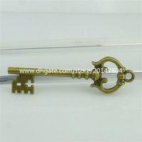 antique victorian necklaces - 16353 Victorian Skeleton Keys Key Charms Pendants Antique Bronze Vintage