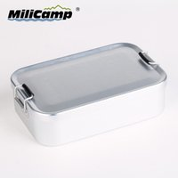Wholesale Outdoor tableware aluminum tableware heated lunch box selling well set circle sealed box soup cup multifunctional
