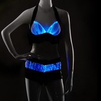 adult red light - RGB light color sexy luminous clothing Halloween sexy costumes for women party adult sexy luminous bra top pants