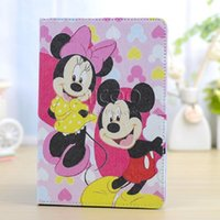 apple mouse pc - For iPad air Samsung Tab P3200 T310 T110 Mickey Mouse cartoon tablet PC case Flip cover Folio folding with Kickstand PU leather case
