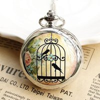 antique bird cages - 2017 Hot Silver Birdcage Bird Cage Flower Quartz Pocket Watch Pendant Necklace Christmas Gift