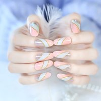 beautiful fingernails - 24pcs Pre Design Fake Nails French False Nails Beautiful Nail Tips For Nail Art Fashion Fingernail Arfificial False Nail Full Cover Full Nai