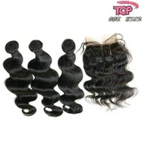 Wholesale 7A Indian virgin hair weave body wave with lace closure free part middle part three part virgin remy human hair weft
