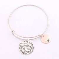 alloy silver wire - 2017 hot Alex Ani Bangles quot Be quot Graffiti Friend Brave Happy Strong Thankful Bracelets Expandable Wire Bracelets