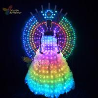 ballroom photos - LED Lady clothing Luminous Wing Glowing Wedding Dresses LED Clothes Luminous Long Skirt Women Ballroom Perform Clothing JHD BH
