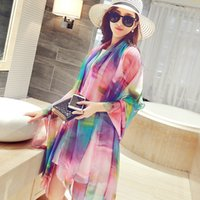 Wholesale Bohemia Scarf Women Chiffon Long Shawls Summer Floral Flower Printed Beach Wraps Sunscreen Cape Silk Pashmina