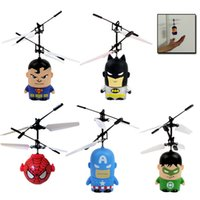 Wholesale Flying Super Hero Helicopter RC Remote Control UFO Super Man Batman Spider Man Captain America Hulk Fly Toy Kids Gift