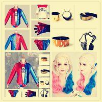 belt gun holster costume - Halloween Batman Harley Quinn DC Comic Suicide Squad Cosplay Costume Coat T Shirt Shorts Bracelet Belt gun holster Collar Baseball bat Boots