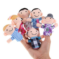 Wholesale Hot Family Finger fantoches de dedo Puppets Cloth Doll Baby Educational Hand Toy Story Kid