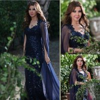 Cheap Sequins Celebrity Dresses with Chiffon Cape 2016 Nancy Ajram Sheer Back Sheath Sweetheart Neckline Navy Long Formal Party Evening Gowns