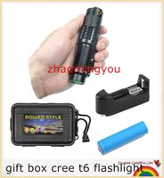 Wholesale HONG set gift box cree t6 flashlight led mini penlight waterproof portable torch bike bicycle linterna battery charger